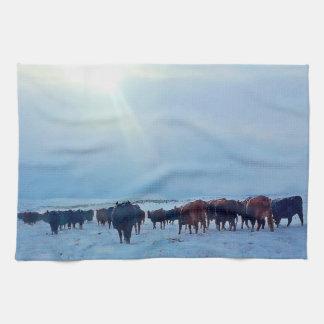 ワイオミングの冬押しの牛台所タオル キッチンタオル