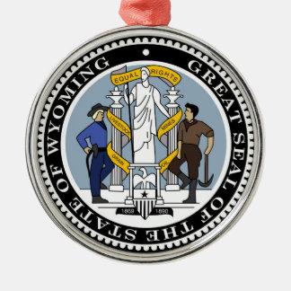 ワイオミングの州のシールアメリカ共和国の記号は私達に印を付けます メタルオーナメント