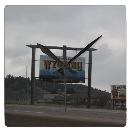 ワイオミングの時計への歓迎 スクエア壁時計
