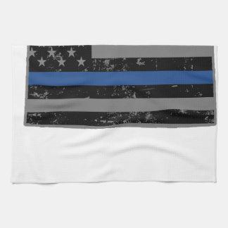 ワイオミングの警察及び法の執行の薄いブルーライン キッチンタオル