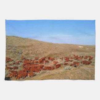 ワイオミングの赤の牛台所タオル キッチンタオル