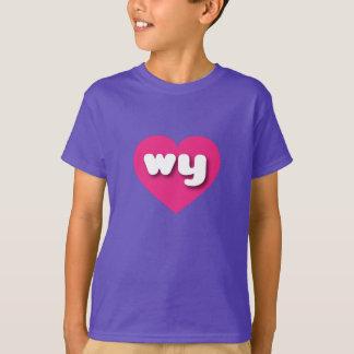 ワイオミングのwyショッキングピンクのハート tシャツ