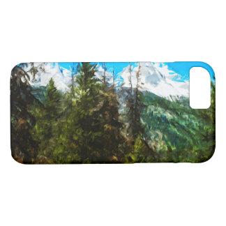 ワイオミング壮大なTeton山の抽象芸術 iPhone 8/7ケース