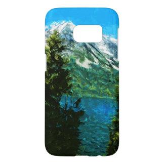 ワイオミング壮大なTeton mountains湖の抽象芸術 Samsung Galaxy S7 ケース