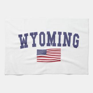 ワイオミング米国の旗 キッチンタオル