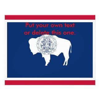 ワイオミング、米国の旗が付いているフライヤ チラシ