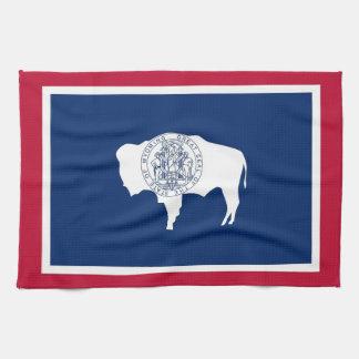 ワイオミング、米国の旗が付いている台所タオル キッチンタオル