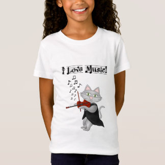 ワイシャツかわいい猫愛音楽ミュージカルのバイオリン Tシャツ