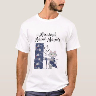 ワイシャツかわいい猫愛音楽ミュージカルのピアノ Tシャツ