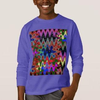 ワイシャツのポケットn背部nギフトのエレガントな波のプリント tシャツ