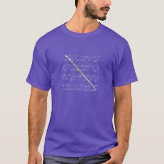 ワイシャツの(暗い) -フルート-あなたの色を選んで下さい Tシャツ