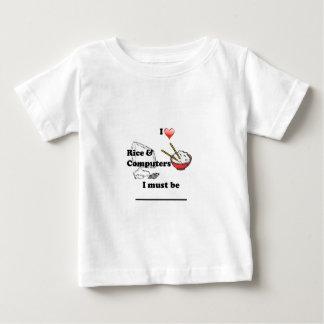 ワイシャツI愛米アジア人およびコンピュータ ベビーTシャツ
