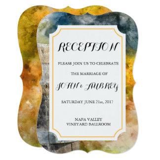 ワイナリーおよびブドウ園の水彩画の結婚披露宴 カード