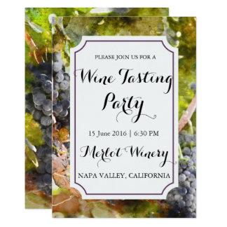 ワイナリーまたはブドウ園の水彩画のワインの試飲のパーティー 12.7 X 17.8 インビテーションカード