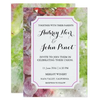 ワイナリーまたはブドウ園の水彩画の結婚式招待状 カード