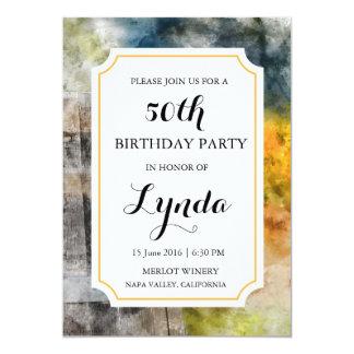 ワイナリーまたはブドウ園の水彩画の誕生日の招待状 カード