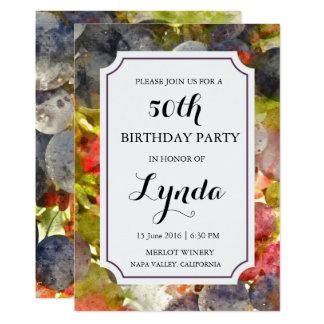 ワイナリーまたはブドウ園の水彩画の誕生日の招待状 12.7 X 17.8 インビテーションカード