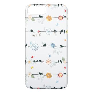ワイヤーおよび花のフェミニンな鳥 iPhone 8 PLUS/7 PLUSケース