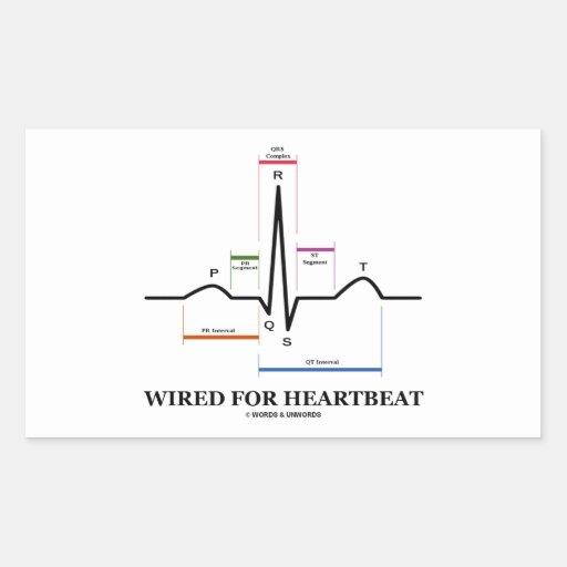 ワイヤーで縛られる|心拍|(心電図) 長方形シールステッカー