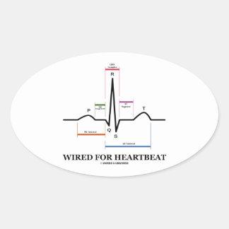 ワイヤーで縛られる 心拍 (心電図) 卵形シール・ステッカー
