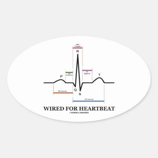 ワイヤーで縛られる|心拍|(心電図) 卵形シール・ステッカー