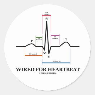 ワイヤーで縛られる 心拍 (ECG/EKG 湾曲 リズム) 丸形シールステッカー