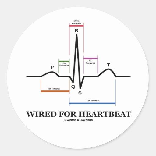 ワイヤーで縛られる|心拍|(ECG/EKG|湾曲|リズム) 丸形シールステッカー