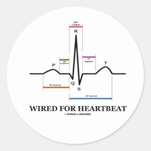 ワイヤーで縛られる|心拍|(ECG/EKG|湾曲|リズム) 丸形シール・ステッカー