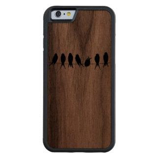 ワイヤーシルエットのクルミの木製のiPhone 6の鳥 CarvedウォルナッツiPhone 6バンパーケース