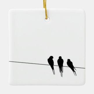 ワイヤーシルエットの黒い鳥 セラミックオーナメント