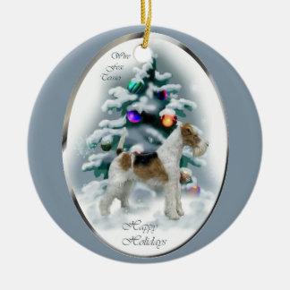 ワイヤーフォックステリア犬のクリスマスのギフト セラミックオーナメント