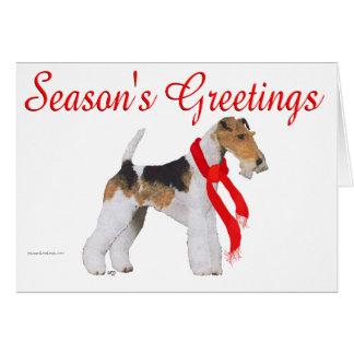 ワイヤーフォックステリア犬のクリスマス カード