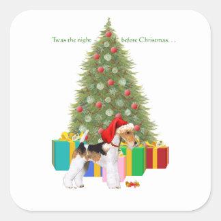 ワイヤーフォックステリア犬のクリスマス スクエアシール