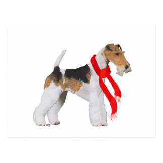 ワイヤーフォックステリア犬のクリスマス ポストカード