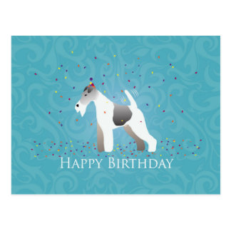 ワイヤーフォックステリア犬のシルエットの誕生日のデザイン ポストカード