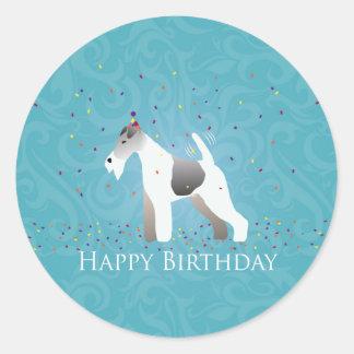 ワイヤーフォックステリア犬のシルエットの誕生日のデザイン ラウンドシール