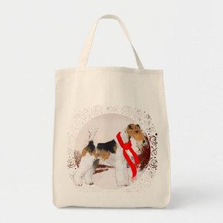 ワイヤーフォックステリア犬の冬 トートバッグ