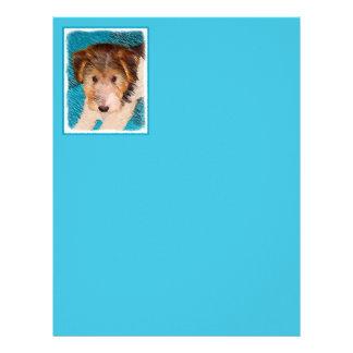 ワイヤーフォックステリア犬の子犬の絵画-元の犬の芸術 レターヘッド