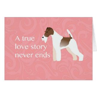ワイヤーフォックステリア犬の最小主義のシルエットのデザイン カード