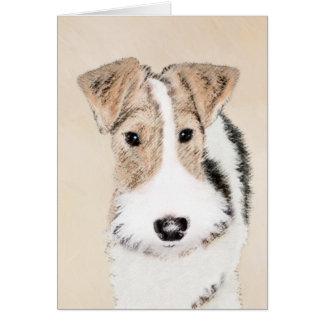 ワイヤーフォックステリア犬の絵画-かわいい元の犬の芸術 カード