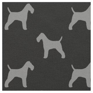 ワイヤーフォックステリア犬はパターンのシルエットを描きます ファブリック