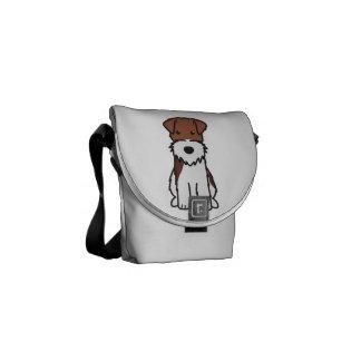 ワイヤーフォックステリア犬犬の漫画 メッセンジャーバッグ