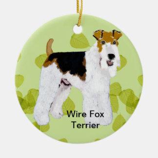 ワイヤーフォックステリア犬-緑の葉のデザイン セラミックオーナメント