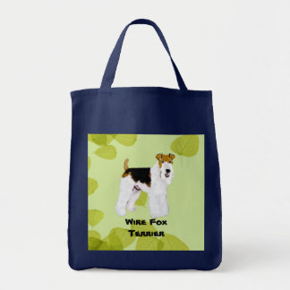 ワイヤーフォックステリア犬-緑の葉のデザイン トートバッグ