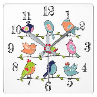ワイヤー柱時計のかわいい鳥 スクエア壁時計