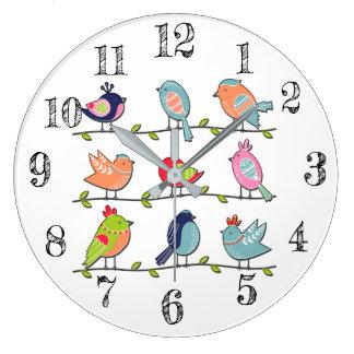 ワイヤー柱時計のかわいい鳥 ラージ壁時計