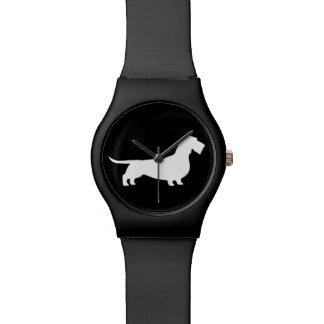 ワイヤー髪のダックスフントのシルエット 腕時計