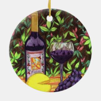 ワインおよびチーズオーナメント セラミックオーナメント