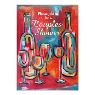 ワインのカップルのウェディングシャワーのパーティ 11.4 X 15.9 インビテーションカード
