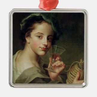 ワインのガラスを持つ女性 メタルオーナメント